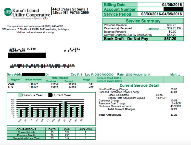 Sample KIUC Electric Bill